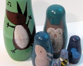 Etsy Woodland Nursery Nesting Dolls, Hand Painted Whimsical Animal Art Dolls, fox, rabbit, owl, bee, bird, ladybug