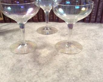 Iridescent Clear Glass Vintage Set of 3 Compotes Dessert