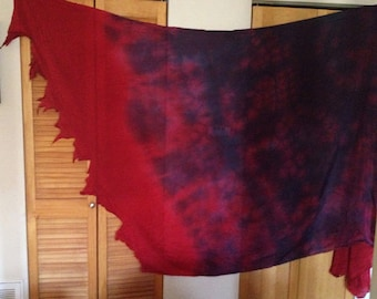 Silk Belly ance Veil: rectangle tattered edge. red, blue, purple