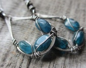 Entwined - sterling silver earrings with Apatite