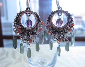Gypsy dangle earrings in purple, orange and green