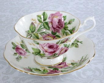 Vintage Royal Albert Tea Cup and Saucer  /  Pink Cabbage Rose Tea Cup Teacup   /  Vintage English China  /  Pink Floral Tea set