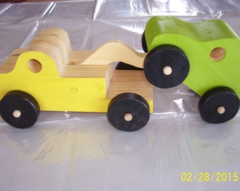 Wood Tow Truck with Car
