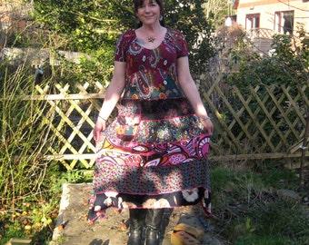 Longer length tee dress upcycled by Niknok