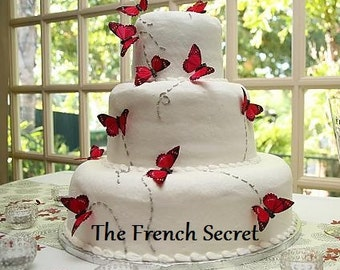 Red Wedding Butterfly Cake Topper Floral Centerpiece Decor Shabby Garden Spring Woodland Fall Vintage Style