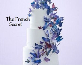 Blue Wedding Butterfly Cake Topper Floral Centerpiece Decor Shabby Garden Spring Woodland Rustic Vintage Style