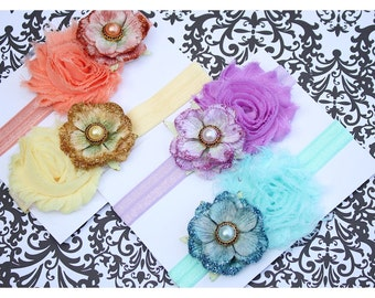 CLEARANCE  Shabby Chic Spring Set of 4 Headbands  (Infant, Toddler, Child)