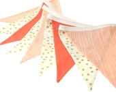 Peach Coral and Metallic Gold Pennant Bunting Banner - great for birthday party decor, nursery, playroom, photo prop
