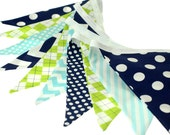 Navy, Aqua and Lime Argyle Fabric Pennant Bunting Banner - great for birthday party decor, nursery, playroom, cake smash photo prop,