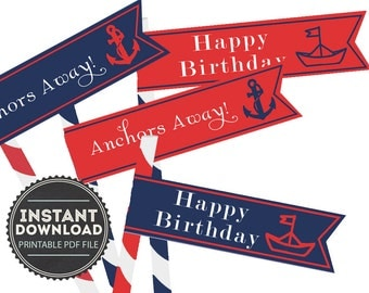 Nautical Happy Birthday Straw Flags - Digital PDF File - INSTANT DOWNLOAD - Red - Navy