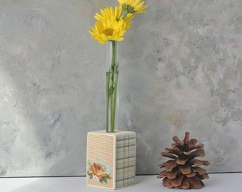 Bud Vase with Test Tube and wood/small vase/shabby chic flower vase, ooak, small gift