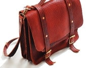 Bison leather briefcase - American Buffalo Leather bag, leather camera bag, laptop bag - Made in USA in Tobacco color