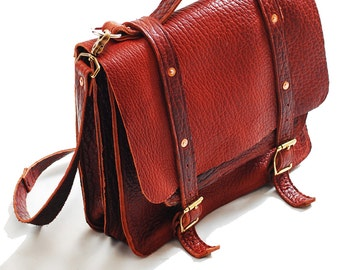 Leather satchel, Laptop bag, Leather Briefcase, Leather DSLR Bag - Made in USA in Tobacco color