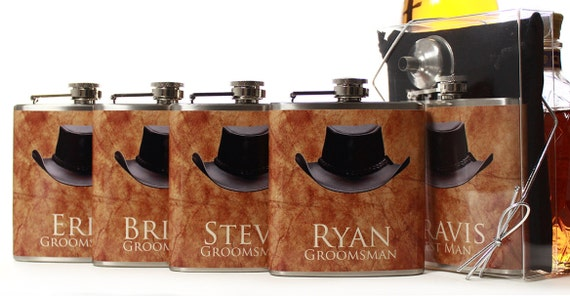 Cowboy Wedding Gifts: 8 Western Wedding Groomsmen Gifts Cowboy Flask Gift Sets