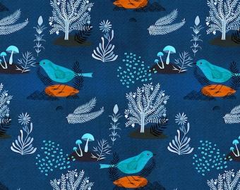 ORGANIC Pomegranate Bird Navy 127612 - MOODY BLUES - Cloud9 Fabrics - 1 Yard