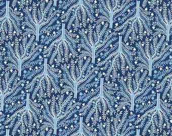 ORGANIC Sashiko Tree Navy 127712 - MOODY BLUES - Cloud9 Fabrics - 1 Yard