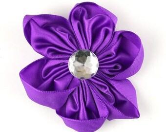 Purple Satin Flower for Headbands