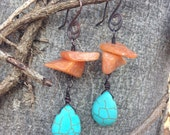 Turquoise and red adventurine copper earrings