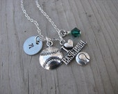 """Baseball Necklace- Charm Necklace with Baseball Charm, """"I *heart* BASEBALL"""" charm, Initial Charm of choice, and accent bead of your choice"""