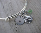 Guinea Pig Bangle Bracelet- Adjustable Bangle Bracelet with Hand-Stamped Initial, Guinea Pig Charm, and accent bead in your choice of colors