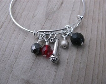 Singer's Bangle Bracelet with Microphone Charm- Adjustable Bangle Bracelet- microphone and glass beads in red, black, gold, hematite