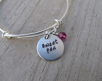"""Sweet Pea Bracelet- Inspiration Bracelet- Hand-Stamped """"sweet pea"""" Bracelet with an accent bead in your choice of colors"""