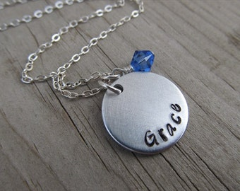 """Grace Inspiration Necklace- """"Grace"""" with an accent bead in your choice of colors- Hand-Stamped Jewelry by Jenn's Handmade Jewelry"""