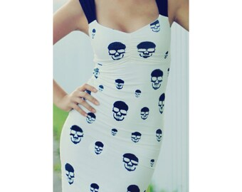 Skull Dress/ Wiggle Dress/ Multiple Color Options Available/ Alternative Wedding Dress/ 1950's Style