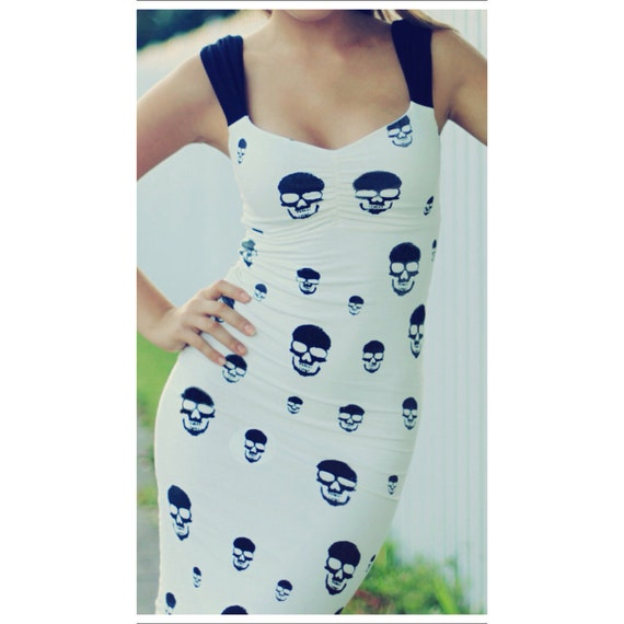 Skull Print Dress, Cream and Black XS-XXL - HANDMADE  - Other color options available