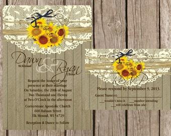 Rustic Wedding Invitation, Sunflower Wedding Invitation, Lace Wedding Invitation, Western Wedding Invitation, Wood Wedding Invitation,