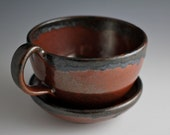 Two Tone Chocolate Brown Cup and Saucer