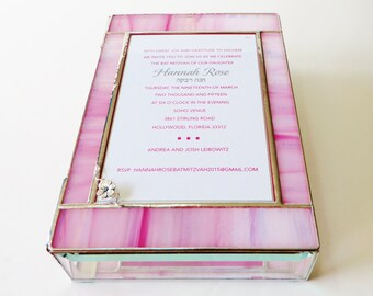 Stained Glass Keepsake Gift Box Bat Mitzvah Invitation 7x10x2 Apple Blossom Wedding Invitation Bride Groom Photograph Custom Made-to-Order