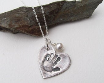 Handprint Necklace, Handprint Jewelry, Your Childs Handprint, Personalized Silver Handprint
