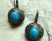 Metal Turquoise Earrings, round dangle earrings, blue stone earrings, spirals motif earrings, turquoise gemstone earrings