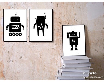 Robots Triptych, Set of 3 Prints