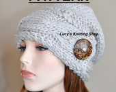 Slouchy Hat  PDF PATTERN DIY Slouch Beanie Cable Button Knit Women Hat Winter Adult