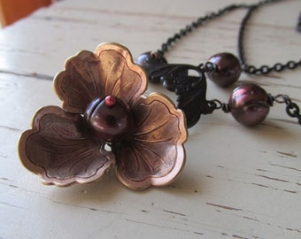 Rose Gold Brass Pansy Necklace with Chocolate Pearls - Vintage Elegance