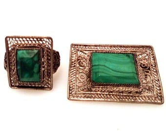 Malachite Ring and Brooch Set Wire Work Filigree Hand Crafted