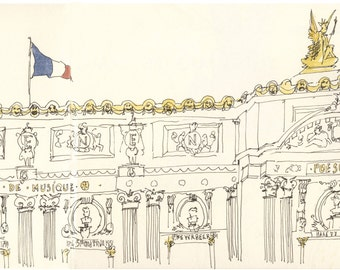 Paris Watercolor-Paris drawing- print/paris opera-paris watercolor