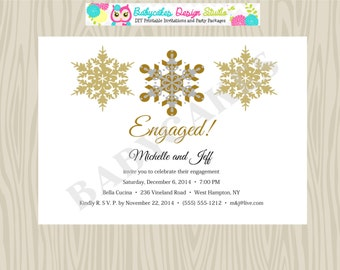 Winter / Engagement /Party  Invitation/invite/snowflake/ Wedding Announcement/Silver/Gold/wedding/Save the Date