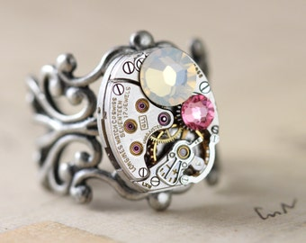 Steampunk Ring Opal Ring Pink Ring Unique Ring Swarovski Crystal Ring Watch Ring October Birthstone Steam Punk Jewelry Filigree Adjustable