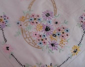1950's Tablecloth Stitched Flowers in Basket, Embroidered Cottage