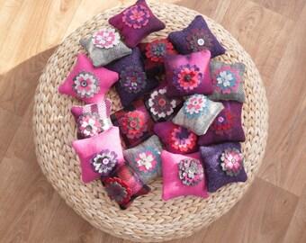 Harris Tweed mini pin cushions - authentic tweed  -  recycled wool flowers - purple , red , black  , pink - christmas gift  - clearance sale