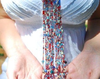 Masai Beaded African Necklace,Red and Blue Masai Necklace,