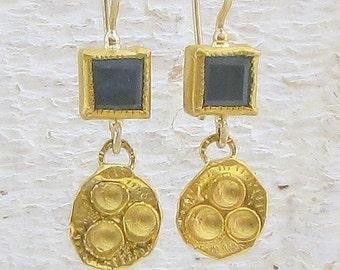 Aquamarine Earrings - 24k gold Earrings - Gold Aquamarine Earrings - One of a Kind