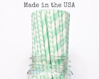 Paper Straws, Mint Green Paper Straws Chevron Stripe Pastel Green Vintage Wedding Table Setting Baby Shower, Birthday Party Supplies, USA