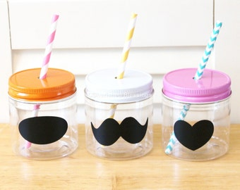 Plastic Mason Jars, Mason Jar Straw Lids, Chalkboard Labels,  Kids size, Kids Party Cups, 8oz Mason Jars, Rustic, Wedding Table Setting