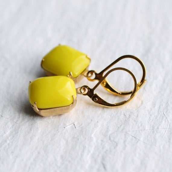 Neon Yellow Earrings ... Tropical Neon Lemon Citrus with Gold Vintage