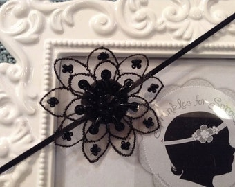 Lace beaded flower Baby headband, newborn headband, Bridal headband, adult headband, child headband and photography prop Princess headband