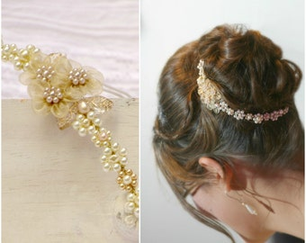 PEARL FLOWER CROWN bridal flower crown gold flower crown wedding tiara pearl gold hair vine bridal gold hair flowers gold pearl headband